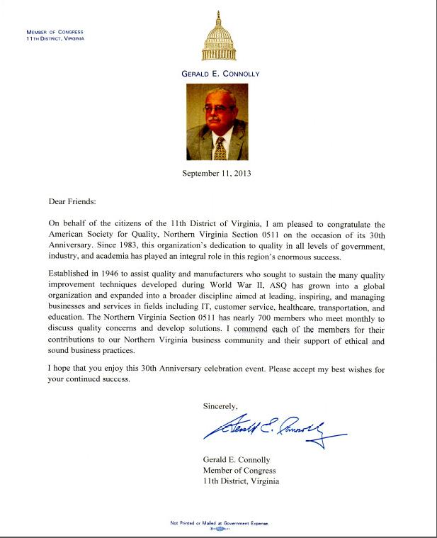 30th Anniversary Commerative Letter from Rep Conolly